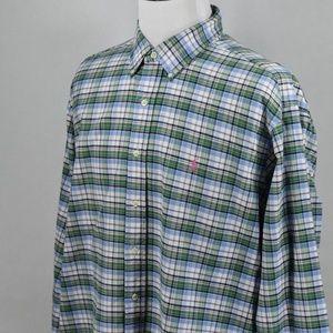 Ralph Lauren Mens Classic Blue/GreenPlaid XXL LSS